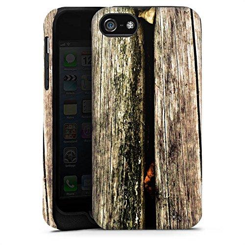 Apple iPhone X Silikon Hülle Case Schutzhülle Planken Moos Holz Look Tough Case matt