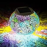 Mosaik Lampe Solar Gartenleuchten,KINGCOO Wasserdichte Farbwechsel Ball Stimmungslicht Nachtlichter Solarleuchte Tischlampe Dekoration Beleuchtung(Tricolor-Beschichtung)