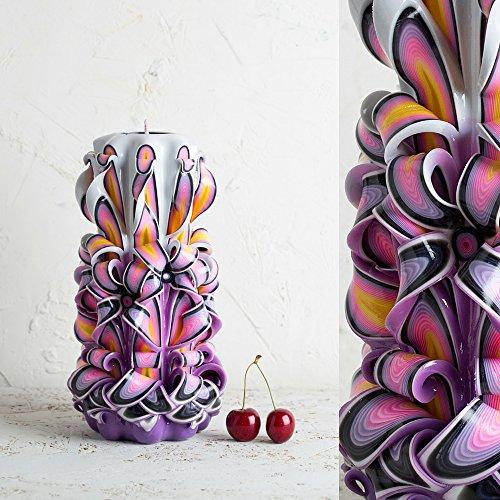 Candela intagliata viola ornamentale profumata per la mamma - regali per donne - fatti a mano da evecandles