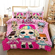 Vampsky LOL Girl Pink Bedding Sets Kids Clubhouse Super Soft Luxury 3 Piece Twin Size In Classic Design Bedding Set - Duvet