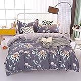 Unimall 2 teilige Bettwäsche mit Blumen Muster Landhausstil Baumwolle Bettdecke & Kopfkissenbezug (135 x 200 cm)