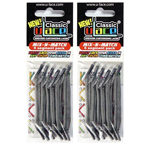Pack Gris 2 sachets lacets élastiques U-LACE (MEDIUM GREY)