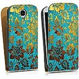 Samsung Galaxy S4 Tasche Hülle Flip Case Blumen Muster Gold