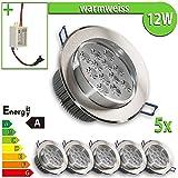 1 x foco LED empotrable 12 W redondo luz blanca cálida lámpara, blanco cálido, 5 unidades