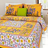 #3: Bedcolors Jaipur Cotton Printed Double Bedsheet With 2 Pillow Covers - Yellow