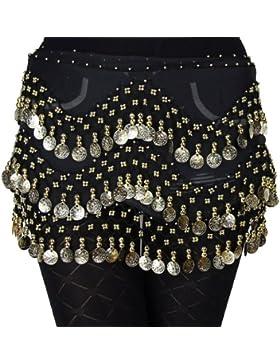 - Hoter pañuelo de gasa con monedas doradas colgando para danza del vientre, a la cadera