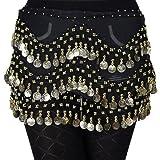 In svendita!! Höter - Sciarpa per la danza del ventre turca in chiffon a 3 file di monete dorate pendenti, stile Vogue