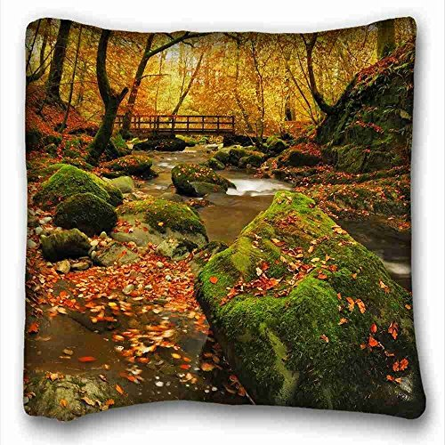 """Preisvergleich Produktbild Generic Personalized ( Landscapes forest creek rays SOLAR ) Pillowcase Cover 16""""X16"""" One Side suitable for Twin-bed PC-White-5253"""