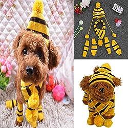 Pets Legs Warmers+Scarves & Hats, Transer® Pets Non-slip Socks Covers + Scarfs Knit Wool Dogs Hat for Pet Cats Leg Warmers