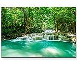 Paul Sinus Art Leinwandbilder | Bilder Leinwand 120x80cm Wasserfall im Tropischen Regenwald in Thailand