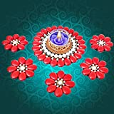 Prime Diwali Diyas For Decoration Traditional Gift Exquisite Hand Crafted Flowers With Crystals Festive Decor Floating Diya With Tealight Candle Holder 1 LED Light + 1 Tealight Wax Candle {1 BIG + 5 SMALL}