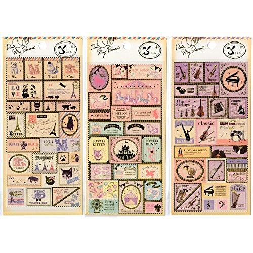 Scrapbooking Sticker im Briefmarken Stil (Tiere-Jahrmarkt-Musikinstrumente)