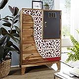 Wohnling Highboard ANJU 75x120x45 cm Akazie Massivholz Landhaus Holzschrank | Kleiner Schrank Schlafzimmer mit Schubladen | Dielenschrank Anrichte schmal | Kommode modern | Sideboard bunt