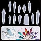 KKSJK 12 stuks kristallen hangers, epoxyharsvormen, creatieve DIY hars siliconenvorm, sieraden siliconen vormen epoxyhars voo