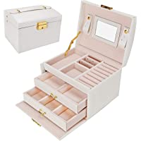Jewellery Box, Gifort Jewellery Organiser with 2 Drawers Three Layers PU Leather Jewelry Storage Box with Mirror and Lock for Girls and Women's Gift