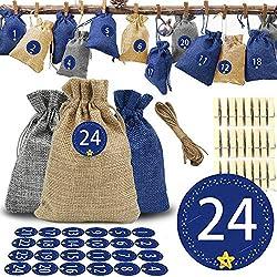 O-Kinee Calendario Adviento Navidad, 24 Bolsas Calendario de Yute con Adhesivos, DIY Bolsa para Regalo Navidad, Cuenta Atrás para Navidad Decoración de Casa de 24 días, Adornos (Azul)