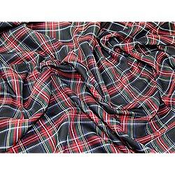 Tela de poliéster tartán a vestido Stirling de cuadros escoceses negro y rojo–por metro