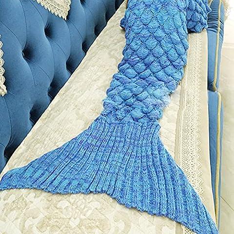 Manta de la sirena con la cola de las escalas, coral-azul hizo punto el ganchillo para los adolescentes de los adultos, en el sofá del hogar (75 * 35 en 4 colores) (azul)