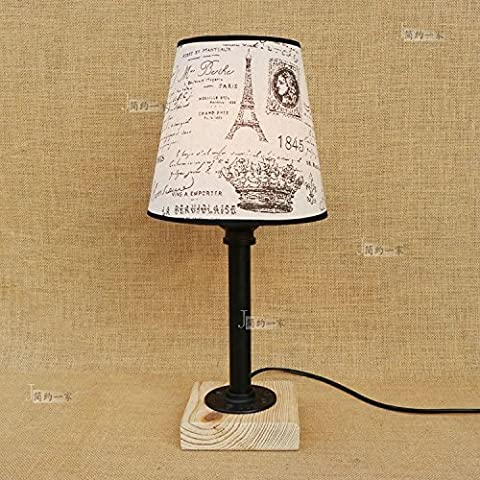 Modeen Nordic bedroom bedside water pipes wood base table lamp American retro creative black table light cloth shade desk lamp for Bar cafe restaurant clothing store Height: 45cm