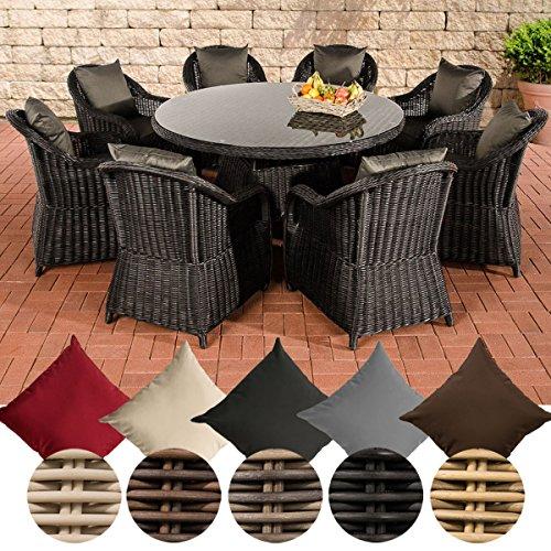 CLP Poly-Rattan Sitzgruppe STAVANGER XL, 5 mm RUND Rattan (8 Sessel + Tisch rund Ø 150 cm + Sitzauflagen) Bezugfarbe: Anthrazit, Rattan Farbe schwarz
