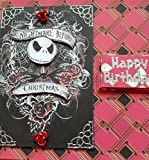 Handmade Nightmare before Christmas Inspired Birthday Card - Red Roses