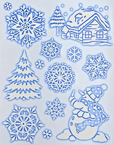 1 x Fensterdeko Weiße Schneeflocken Schnee Weiß Fensterbilder Weiße Schneeflocken & Winterlichemotiver Fensterbilder - Blau Flocke Glocke