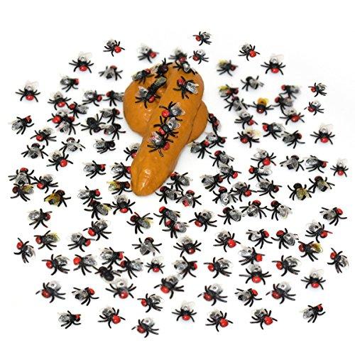 100 Stück realistische schauende Plastikfliegen u. 1 Los gefälschte praktische menschliche Poo / Poop Shit für Halloween-Dekoration oder Party-Bevorzugungen (Haus Halloween Dekoration Beste)
