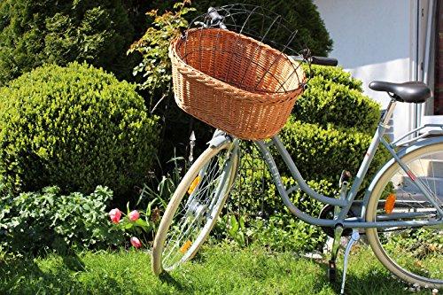 Fahrradkorb 2 in 1 – Oval Weidenkorb Bastkorb Fahrrad Korb geflochten Hundekorb Hundefahrradkorb Groß (57 x 41 x 44cm)