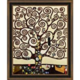 overstockArt Klimt Baum des Lebens mit Cottage Eiche Rahmen, Diamant gemustert mit Bronze und dunklen Fleck Finish