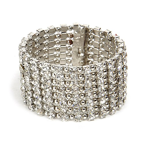 Shining Diva Jewellery Fancy Diamond Studded Bangle Bracelet For Girls / Women (Silver)
