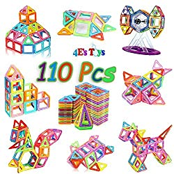 Magnetic Blocks Building Set for Kids, Magnetic Tiles Educational Building Construction Toys, with Storage Container 110 Pcs By 4Es Toys,