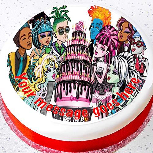 Monster High Tortenaufsatz aus Zuckerguss, rund, 19 cm (Monster Cake Topper High)