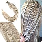 【Neue Laden Promotionen】YoungSee 1g/strahne Virgin Remy Echthaar Nanoring Hair Extensions #18 Dunkles Aschebraun mit #613 Gebleichtes Blond 18zoll 50g/pack