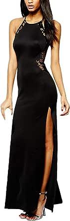 Angelwing da Donna Sottile Vestito con Aberturas Abito Maxi di Pizzo Senza Schienale Vestiti da Cerimonia Abito da Sera Partito Festa Banchetto