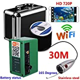 QZH WiFi-Unterwasserfischerkamera-Kit, 2.4G Wireless Signal Fish Finder, IOS Android Mobile APP Video-Aufnahme und Foto, für EIS/Meer/Flussfischen,30mcable