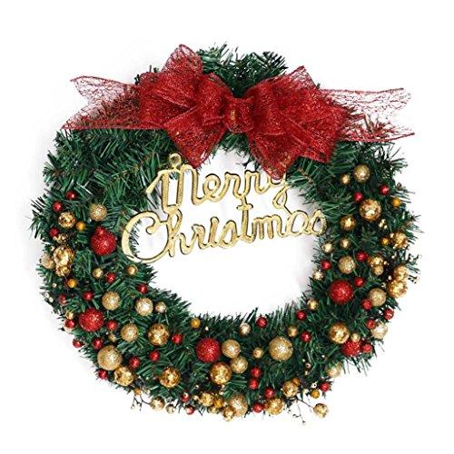 AMUSTER Weihnachten Deko Weihnachten große Kranz Tür Wand Ornament Girlande Dekoration Rot Bowknot Weihnachtsbaum Decor (One size, G)