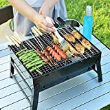 Swadhin Style Folding & Portable Outdoor Barbeque Grill Toaster Charcoal BBQ Grill Oven Black Carbon Steel, Black