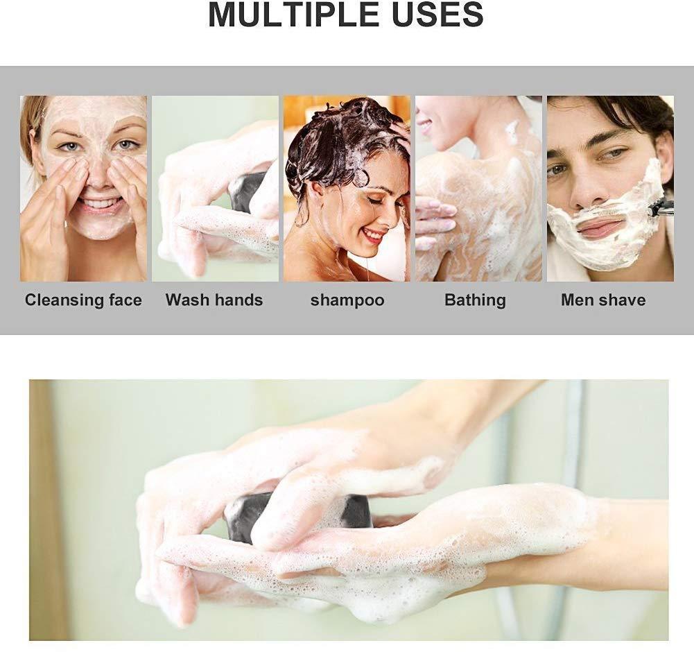 Jabón Exfoliante,Jabones faciales,Jabón de hecho a mano,Jabón Carbón de bambú,Hecho a Mano con Ingredientes Naturales…