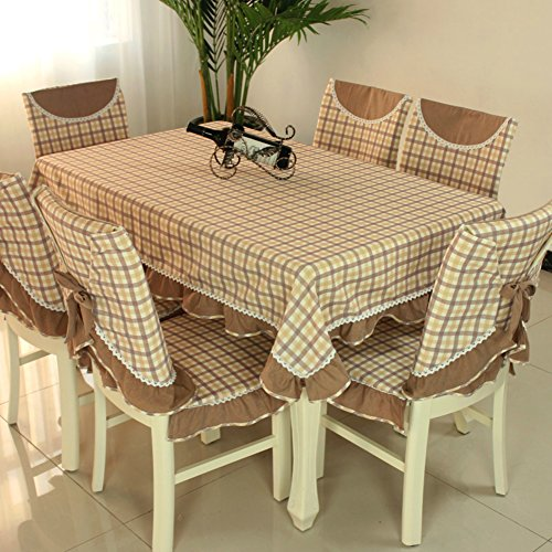 Café Nappe Tissu rectangulaire Coton et Lin Frais Plaid à Manger Table Chaise Coussin Set Housse-F 130x130cm(51x51inch)