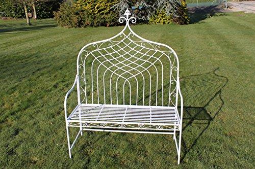 GardenMarketPlace 2-Sitzer Klappbank aus Metall im 'Elizabethan' Stil - Weiß -mit Hoher Rücken