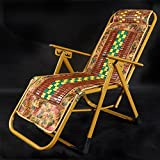 Folding chair Health UK Klappstuhl Sommer Cool Atmungsaktiv Bambus Sitz Büro Liege Lounge-Bank Liegestuhl Welcome (Farbe : C)