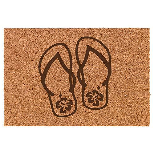 Daylor Fußmatte aus Kokosfaser, Flip Flops, Hibiskusblüten