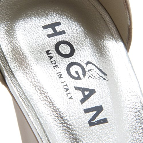 85747 sandalo zeppa HOGAN H 227 scarpa donna shoes tortora/argento