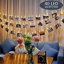 Tomshine Clip Cadena de Luces LED, 40LEDs 5m Fotoclips Guirnalda de Luces para Decoración de