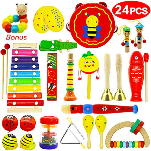 Vykor Musical Toys Wooden Musical Instruments for Toddlers Musical Set Percussion Instruments for Children Rhythm Instrument Set 24PCS Toddler Musical Toy Baby Educational Musical Instruments Gift Set