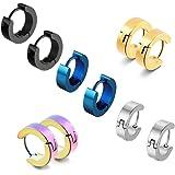 5 coppie acciaio inossidabile Huggie orecchini a cerchio in acciaio inox a cerniera argento borchie nero di Huggie ipoallerge