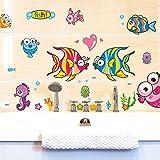 ZLYAYA Tapete,Wandtapete,Wand Dekoration,wandsticker,Cartoon niedliche Fische bad Glas Aufkleber ist wasserdicht Fliesen wand Aufkleber Kinderzimmer Schlafzimmer Unterwasserwelt, 30 * 40 cm.
