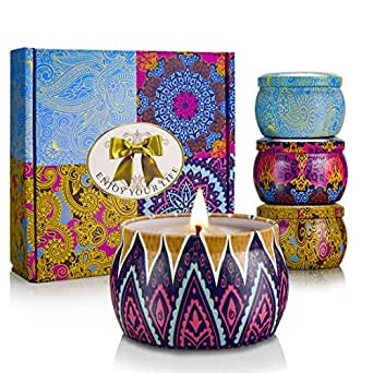 Scented Candles, Christmas Gift Sets, Citronella Indoor Candles, Natural Soy Wax 22 Oz, Perfect for Women Bath Yoga Birthday Outdoors - Set of 4