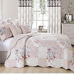 Colcha vintage con diseño de patchwork floral, colcha con 2 fundas de almohadas, diseño de pradera, 100% algodón, matrimonio grande
