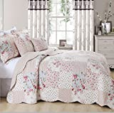 Beautiful Floral Vintage Patchwork Quilted Bedspread/Throw with 2 Pillow Shams (Meadow) (Super King)